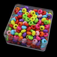 European Acrylperlen, Acryl, mit Kunststoff Kasten, Trommel, facettierte & Volltonfarbe, gemischte Farben, 11x6.5mm, 94x94x41mm, Bohrung:ca. 4.5mm, 150G/Box, verkauft von Box