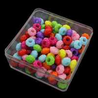 European Acrylperlen, Acryl, mit Kunststoff Kasten, Blume, Volltonfarbe, gemischte Farben, 13x7mm, 94x94x41mm, Bohrung:ca. 6mm, 150G/Box, verkauft von Box