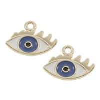 Evil Eye Anhänger, Zinklegierung, Auge, goldfarben plattiert, böser Blick- Muster & Emaille, frei von Blei & Kadmium, 15.50x12x1mm, Bohrung:ca. 1mm, 50PCs/PC, verkauft von PC