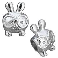 Edelstahl European Perlen, Hase, ohne troll, originale Farbe, 11x8.50x15.50mm, Bohrung:ca. 4.5mm, 10PCs/Menge, verkauft von Menge
