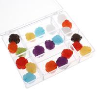 Transparente Acryl-Perlen, Acryl, mit Kunststoff Kasten, Blume, transluzent, gemischte Farben, 20x17mm, 120x95x23mm, Bohrung:ca. 1.5mm, 100G/Box, verkauft von Box