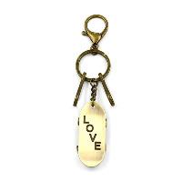 Schlüsselanhänger, Zinklegierung, Skateboard, Wort Liebe, antike Bronzefarbe plattiert, 145mm, 54mm, 30mm, 3SträngeStrang/Menge, verkauft von Menge