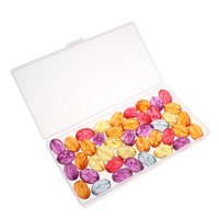 Transparente Acryl-Perlen, Acryl, mit Kunststoff Kasten, transluzent, gemischte Farben, 20x13mm, 80x150x20mm, Bohrung:ca. 1mm, 100G/Box, verkauft von Box