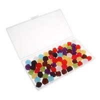 Transparente Acryl-Perlen, Acryl, mit Kunststoff Kasten, Blume, transluzent, gemischte Farben, 14x14x13mm, 80x150x20mm, Bohrung:ca. 1mm, 100G/Box, verkauft von Box