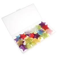 Transparente Acryl-Perlen, Acryl, mit Kunststoff Kasten, Stern, transluzent, gemischte Farben, 30x28x5mm, 80x150x20mm, Bohrung:ca. 1.5mm, 100G/Box, verkauft von Box