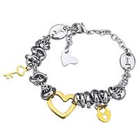 Edelstahl Schmuck Armband, plattiert, Armband  Bettelarmband & Oval-Kette & für Frau, 17.5x15mm, 6x15mm, verkauft per ca. 8 ZollInch Strang