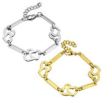 Edelstahl Schmuck Armband, mit Verlängerungskettchen von 1.5lnch, Herz, plattiert, für Frau, keine, 20x15mm, 22x4mm, verkauft per ca. 7 ZollInch Strang