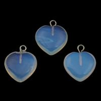 Opal Anhänger, mit Zinklegierung Anhänger, Herz, Platinfarbe platiniert, 15x18x4.50mm, Bohrung:ca. 1.5mm, 5PCs/Tasche, verkauft von Tasche