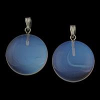 Opal Anhänger, mit Zinklegierung Stiftöse, flache Runde, Platinfarbe platiniert, 20x23x4.50mm, Bohrung:ca. 3x5mm, 5PCs/Tasche, verkauft von Tasche