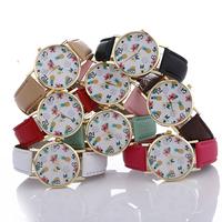 Damen Armbanduhr, PU Leder, mit Zinklegierung Zifferblatt & Glas, plattiert, einstellbar & für Frau, keine, frei von Nickel, Blei & Kadmium, 37x7mm, Länge:ca. 9.4 ZollInch, verkauft von PC