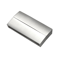 Edelstahl Magnetverschluss, Rechteck, plattiert, gebürstet & stumpfmatt, keine, 37x19x6mm, Bohrung:ca. 34x4mm, 5PCs/Menge, verkauft von Menge