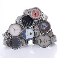 Damen Armbanduhr, Zinklegierung, mit Glas, plattiert, verschiedene Muster für Wahl & mit Brief Muster & für Frau, frei von Nickel, Blei & Kadmium, 40x6mm, Länge:ca. 8.2 ZollInch, verkauft von PC