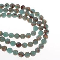 Wasserblauer Terra Jaspis Perle, rund, verschiedene Größen vorhanden, Bohrung:ca. 1mm, verkauft per ca. 15 ZollInch Strang