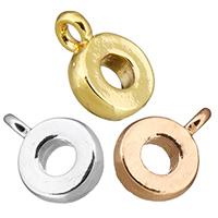 Messing Stiftöse Perlen, Kreisring, plattiert, keine, frei von Nickel, Blei & Kadmium, 7x10x2.50mm, Bohrung:ca. 2mm, 50PCs/Menge, verkauft von Menge
