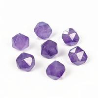 Natürliche Amethyst Perlen, Vieleck, Februar Birthstone & verschiedene Größen vorhanden & facettierte, Bohrung:ca. 1.2mm, 10PCs/Tasche, verkauft von Tasche