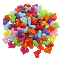 Volltonfarbe Acryl Perlen, Herz, gemischte Farben, 22.50x18x9mm, Bohrung:ca. 1mm, 500G/Tasche, verkauft von Tasche
