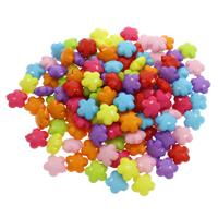 Volltonfarbe Acryl Perlen, Blume, gemischte Farben, 17x17x8.50mm, Bohrung:ca. 1mm, 500G/Tasche, verkauft von Tasche