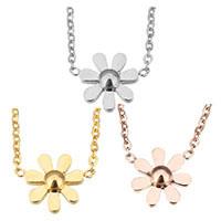 Edelstahl Schmuck Halskette, mit Verlängerungskettchen von 2lnch, Blume, plattiert, Oval-Kette & für Frau, keine, 14x10.5mm, 1.5mm, verkauft per ca. 17 ZollInch Strang