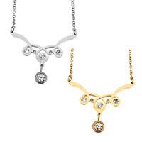 Edelstahl Schmuck Halskette, mit Verlängerungskettchen von 2lnch, plattiert, Oval-Kette & für Frau & mit Strass, keine, 34x27mm, 1.5mm, verkauft per ca. 18 ZollInch Strang
