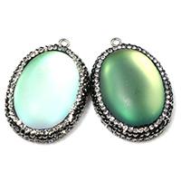 Opal Anhänger, mit Ton & Messing, flachoval, platiniert, keine, 26x38.50x8.50mm, Bohrung:ca. 2mm, 5PCs/Menge, verkauft von Menge