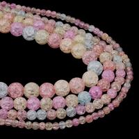 Knistern Quarz Perlen, rund, verschiedene Größen vorhanden, gemischte Farben, Bohrung:ca. 1mm, verkauft per ca. 15.5 ZollInch Strang