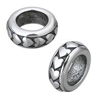 Edelstahl-Perlen mit großem Loch, Edelstahl, Kreisring, Schwärzen, 12.50x5x12.50mm, Bohrung:ca. 7.5mm, 10PCs/Menge, verkauft von Menge