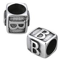 Edelstahl-Perlen mit großem Loch, Edelstahl, Würfel, mit Brief Muster & Schwärzen, 12x11x10mm, Bohrung:ca. 8mm, 10PCs/Menge, verkauft von Menge