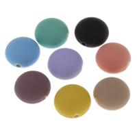 Volltonfarbe Acryl Perlen, flache Runde, gummierte, keine, 18x12x2mm, Bohrung:ca. 2mm, 500PCs/Tasche, verkauft von Tasche