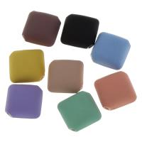 Volltonfarbe Acryl Perlen, Quadrat, gummierte, keine, 18x10mm, Bohrung:ca. 2mm, 500PCs/Tasche, verkauft von Tasche