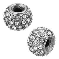 Edelstahl-Beads, Edelstahl, Rondell, mit Strass & Schwärzen, 11x18x11mm, Bohrung:ca. 3mm, 10PCs/Menge, verkauft von Menge