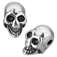 Edelstahl European Perlen, Schädel, Schwärzen, 8x7x13mm, Bohrung:ca. 2mm, 10PCs/Menge, verkauft von Menge