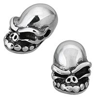 Edelstahl-Beads, Edelstahl, Schädel, Schwärzen, 11x10x18mm, Bohrung:ca. 2mm, 10PCs/Menge, verkauft von Menge