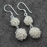 925 Sterling Silber Tropfen Ohrring, rund, für Frau, 11mm, 15x53mm, verkauft von Paar