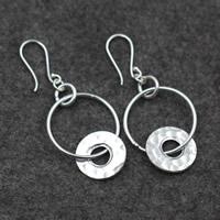 925 Sterling Silber Tropfen Ohrring, flache Runde, für Frau, 26x64mm, verkauft von Paar