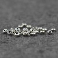 Bali Sterling Silber Perlen, Thailand, flache Runde, 4x2mm, Bohrung:ca. 1mm, 10PCs/Menge, verkauft von Menge