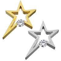 Kubischer Zirkonia Anhänger , Edelstahl, Stern, plattiert, mit kubischem Zirkonia, keine, 28x30x6mm, Bohrung:ca. 3mm, 5PCs/Menge, verkauft von Menge