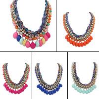 Mode Statement Halskette, Zinklegierung, mit Nylonschnur & Harz, goldfarben plattiert, für Frau & mit Strass, keine, frei von Blei & Kadmium, 545x50mm, verkauft per ca. 21 ZollInch Strang