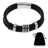 Herren-Armband & Bangle, Kuhhaut, mit Silikon & Edelstahl, für den Menschen & Schwärzen, schwarz, 6mm,  29x14x8mm, 12x16x12mm, verkauft per ca. 8.5 ZollInch Strang