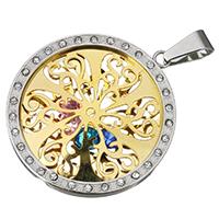 KRISTALLanhänger, Edelstahl, mit Kristall, flache Runde, plattiert, mit Strass & zweifarbig & hohl, 35x39x5mm, Bohrung:ca. 5x9mm, verkauft von PC