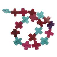 gefärbter Marmor Perle, Kreuz, 20x20x3mm, Bohrung:ca. 1mm, ca. 20PCs/Strang, verkauft per ca. 14.5 ZollInch Strang