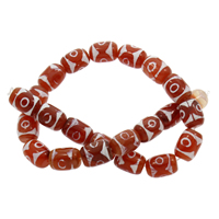 Natürliche Tibetan Achat Dzi Perlen, Trommel, 12x15mm, Bohrung:ca. 1mm, ca. 23PCs/Strang, verkauft per ca. 14.5 ZollInch Strang