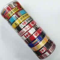 Polyester Armreif, mit Kunststoffeimer & Harz, handgemacht, mit Brief Muster & gemischt, 10mm, Innendurchmesser:ca. 60mm, Länge:ca. 7 ZollInch, 12PCs/Box, verkauft von Box