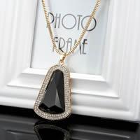 Zinklegierung Pullover Halskette, mit Eisenkette & Kristall, goldfarben plattiert, für Frau & facettierte & mit Strass, frei von Blei & Kadmium, 780mm, verkauft per ca. 30.5 ZollInch Strang
