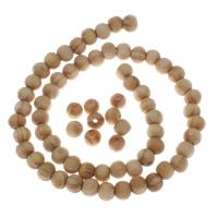 Holzperlen, Holz, rund, originale Farbe, 7x8mm, Bohrung:ca. 1.5mm, ca. 58PCs/Strang, verkauft per ca. 15.5 ZollInch Strang