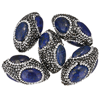 Lapislazuli Perlen, Lehm pflastern, mit natürlicher Lapislazuli, mit Strass & gemischt, 18-20x32-34x18-20mm, Bohrung:ca. 1.5mm, 10PCs/Tasche, verkauft von Tasche