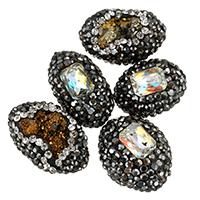 Natürliche Eis Quarz Achat Perlen, Lehm pflastern, mit Eisquarz Achat & Kristall, mit Strass & gemischt, 12-16x16-22x9-13mm, Bohrung:ca. 1mm, 10PCs/Tasche, verkauft von Tasche