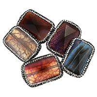 Natürliche Drachen Venen Achat Perlen, Lehm pflastern, mit Drachenvenen Achat, mit Strass & gemischt, 23-25x34-36x9-11mm, Bohrung:ca. 1mm, 10PCs/Tasche, verkauft von Tasche