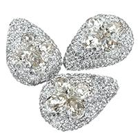 Kristall-Perlen, Lehm pflastern, mit Kristall, mit Strass & gemischt, 19-21x28-30x10-12mm, Bohrung:ca. 1mm, 10PCs/Tasche, verkauft von Tasche