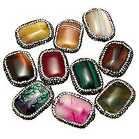 Achat Perlen, Lehm pflastern, mit Achat, natürlich, mit Strass & gemischt, 20-24x28-32x6-9mm, Bohrung:ca. 1mm, 10PCs/Tasche, verkauft von Tasche