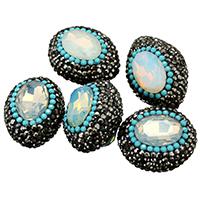 Kristall-Perlen, Lehm pflastern, mit Kristall, facettierte & mit Strass & gemischt, 19-24x24-27x18-20m, Bohrung:ca. 1mm, 10PCs/Menge, verkauft von Menge